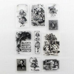 Alice in Wonderland Scrapbooking Photo Album Cards Silicone Clear Stamp 11*16cm