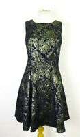 Joe Browns Ladies Black Gold Metallic Jacquard Brocade Fit & Flare Dress UK 10
