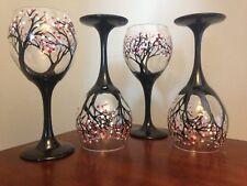 Wine Glass Cherry blossom Art Work Dishwasher Safe In Top Rack Set of 4 Gift