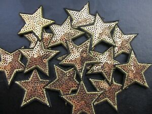 SEQUIN STAR IRON ON BADGE SEW ON PATCH GOLD EMBROIDERED APPLIQUE 1 PATCH