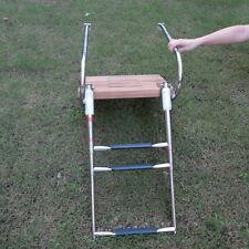 "Plat 18""W*14D Stainless Steel Rail Teak Inboard Boat Swim Platform 3 Step Ladder"