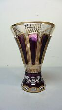"""STUNNING AMETHYST CUT-TO-CLEAR MOSER BOHEMIAN 7.5"""" CRYSTAL VASE, c.1880s"""