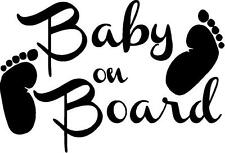 Baby on Board with nfoot prints car vinyl decal