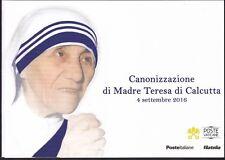 2016 VATICANO-ITALIA FOLDER CANONIZZAZIONE MADRE TERESA DI CALCUTTA SOTTOCOSTO