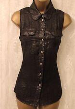 Karen Millen Metallic Pewter Pocket Collar Button Front Top Blouse Shirt  8 36