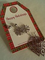 Christmas Earrings Happy Holidays 3 Pairs Earrings (Stud, Snowflake & Ornament)