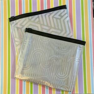 Set of 2 Mary Kay Travel Slider Top Silver Pattern Make Up Storage Bags