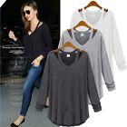 Sexy Womens Ladies V Neck Off Shoulder Long Sleeve Loose T Shirt Blouse Tops