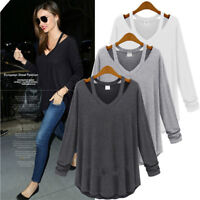 Hot UK Womens Ladies V Neck Off Shoulder Long Sleeve Loose T Shirt Blouse Tops