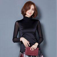 Women Black Mesh T-shirt Slim Top Splice Turtle Neck Long Sleeve Pullover Blouse