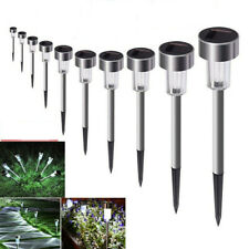 10 PCS Garden Outdoor Stainless Steel LED Lawn Solar Landscape Path Lights Lamp