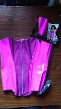 PATENT LEATHER LACE UP CORSET, SIZE XL, PINK/BLACK , NEW COND. ALLURE LINGERIE