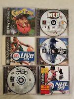 PS1 LOT OF 6 RANDOM SPORTS  TITLES TRIPLE PLAY 99, CYBER TIGER, MLB 2003, NHL 99