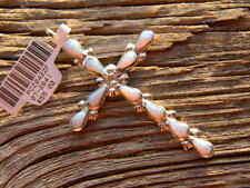 "Sterling silver Zuni made cross 10 white fire opals 2"" lg free 18"" cobra chain"