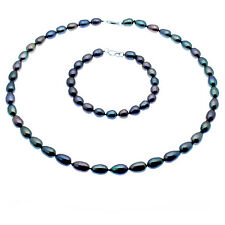 Black Pearl Necklace & Bracelet Set Oval Cultured Pearls Sterling Silver