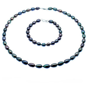 Black Pearl Necklace and Bracelet Set Oval Cultured Pearls Sterling Silver