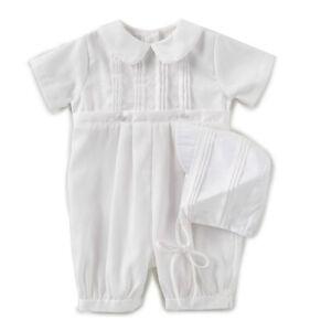 Petit Ami Boys Romper & Hat Infant White Tucked Christening NWT, 3m-24m