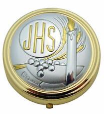 NEW JHS Communion Pyx Brass & Silver Tone Metal w/ Velour Burse Catholic Set