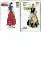 Lot 2 Embroidered Canasries Spain Glamour Silk Postcard Fashion Dresses