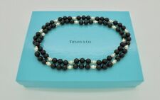"""Vintage Tiffany & Co. Onyx Pearl 14k Yellow Gold Bead Necklace 30"""" - RARE"""