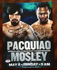 "Manny ""PACMAN"" Pacquiao & Sugar Shane Mosley DUAL Signed 11x14 Photo PSA/DNA COA"