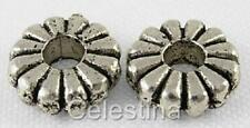 50 x Silver Tone Ring Rondelle Charms - Flower Circle Hoops / Loops - LF/NF SP51