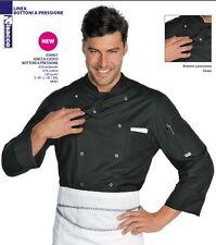 Giacca Isacco Cuoco Chef Linea Bottoni a pressione Nero Jacket Куртка