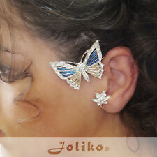 JoliKo Ohrklemme Ear cuff Emaillie Schmetterling Butterfly Blue Dream RECHTS