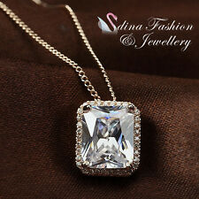 18K Rose Gold Plated Made With Swarovski Element Luxury Emerald Cut Necklace