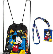 Mickey Mouse & Pluto Black Shapes Drawstring Bag Backpack + Lanyard Coin Pouch