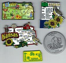 KANSAS STATE MAGNETS  5 NEW   includes JUMBO MAP MAGNET and ARTWOOD STATE MAP