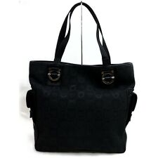 Authentic Ferragamo Tote Bag  Black Canvas 907246