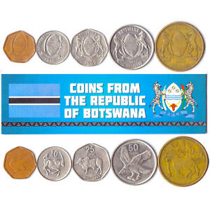 5 BOTSWANA COINS DIFFERENT AFRICAN COLLECTIBLE COINS FOREIGN CURRENCY