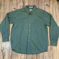 LL BEAN Mens Long Sleeve Dark Green Shirt Sz L Wrinkle Resistant Traditional Fit