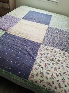 "VTG* MCM* handmade* large block quilt* floral*geometric*pirates*kitsch*67"" x 82"""
