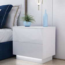 High Gloss Front White Bedside Cabinet Table 2 Drawers / Nightstand / FREE LED!!