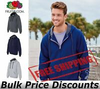 Fruit of the Loom Mens Sofspun Hooded Full-Zip Sweatshirt Blank SF73R up to 3XL