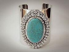 Punk Compacted Chain Oval Shape Turquoise Stone Rhinestone Cuff Bangle Bracelet