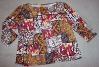 Ruby Rd Women's Knit Top Cotton Tunic Blouse 3/4 Sleeve Size L
