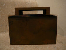 S25 antique bradley hubbard brass cigarette desk case wood liner match holder