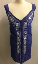 Wardrobe Ladies Blue Strap Top Size 30 Cotton Embroidered Faux Button Front