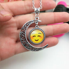 Emoji face shy Emoticon moon Cabochon Glass chain pendant necklace.