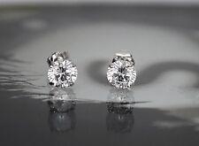 14K White Gold Created Diamond Brilliant Basket Push Back Stud Earrings 1TCW