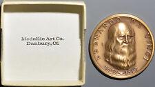 1975 Medallic Art Co. Leonardo da Vinci Bronze High Relief Medal with Box