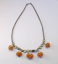 Cute Vintage Hand Made Melhior Chain Baltic Amber Dangling Drops Necklace