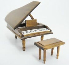 Dollhouse Miniature Living Room Furniture Grand Piano and Bench Wooden