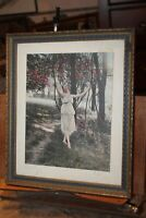 Antique Framed Hand Tinted Photograph The Swing Signed Villan Sexy Lady See Thru