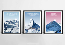 Alpine Big Three Set Of 3 Art Prints - Mont Blanc, Matterhorn, Eiger, Landscapes