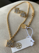 Tory Burch Womens 63899 Vintage Gold Tone T-logo Earrings Necklace Set 8179-5