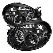 Dodge 03-05 Neon Black Dual Halo LED Projector Headlights Lamps SE SRT SXT RT